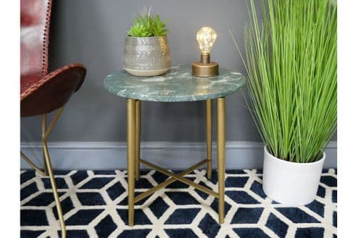GREY MARBLE TOP GOLD METAL LEGS SIDE END LAMP COFFEE TABLE (DX7170)